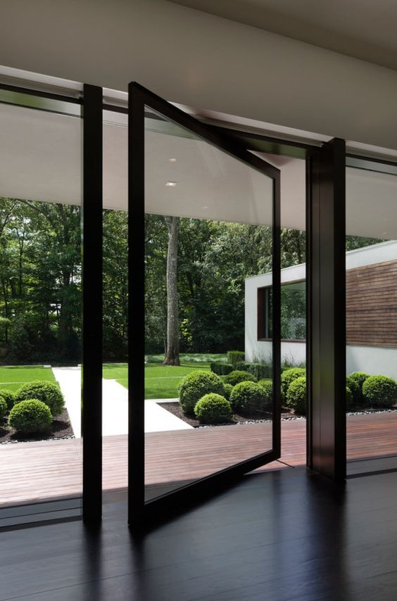 pivot glass front doors