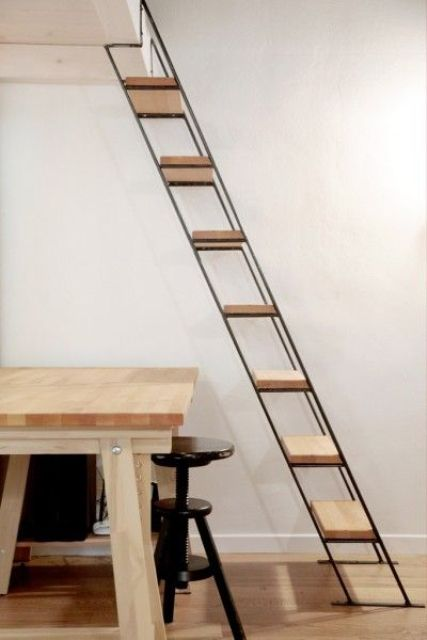 Minimalist Industrial Wood And Metal Ladder