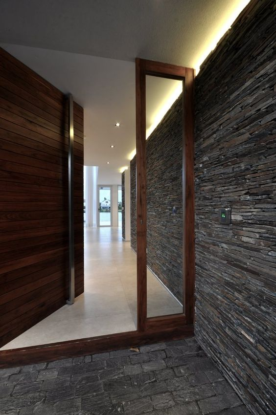 oversized textural wooden door