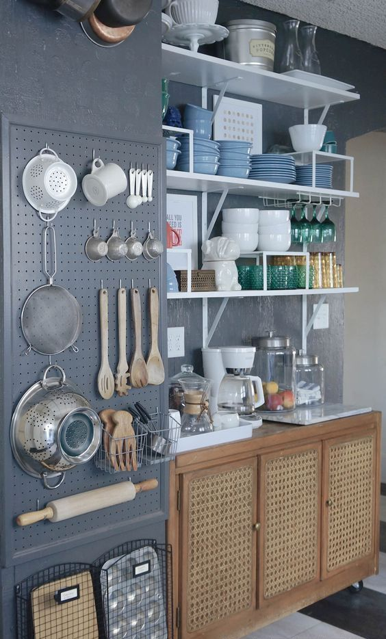 27 smart kitchen wall storage ideas shelterness pegboard kitchen wall organizer workwithnaturefo