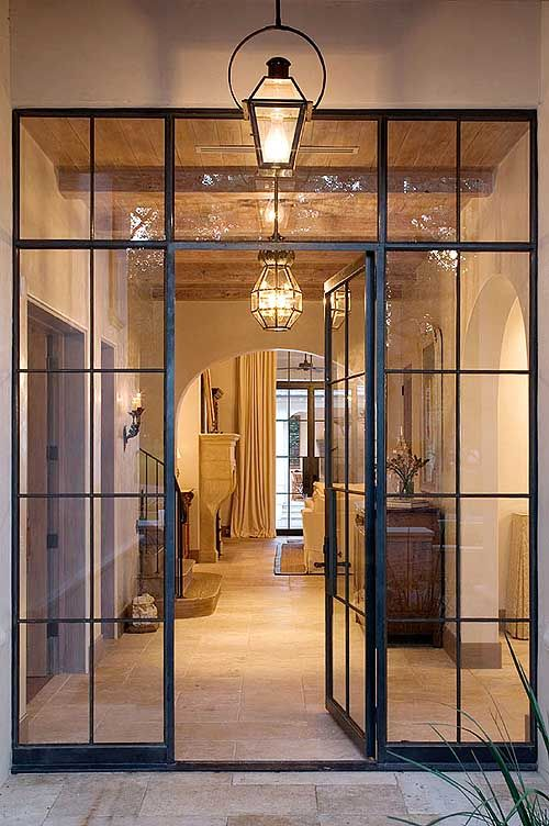 metal framed glass front doors