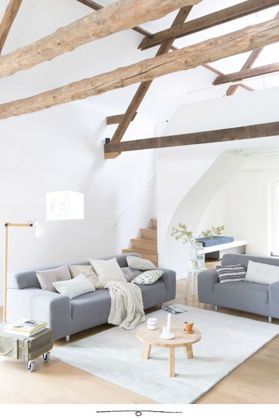Modern Attic Living Room With Exposed Wooden Beams