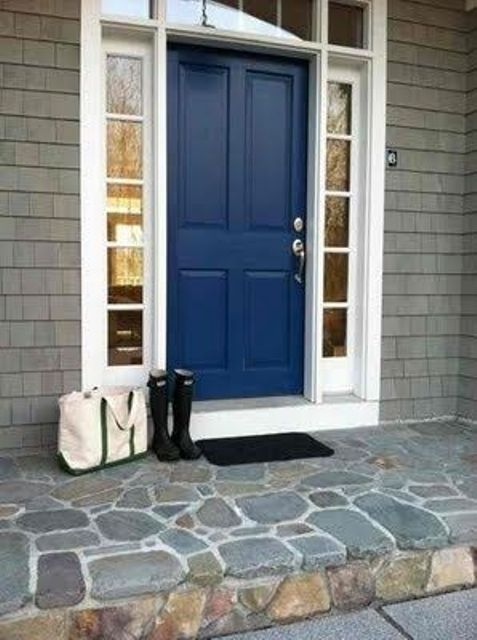 navy door with white sidelights