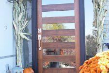 23 wood and mirror glass front door