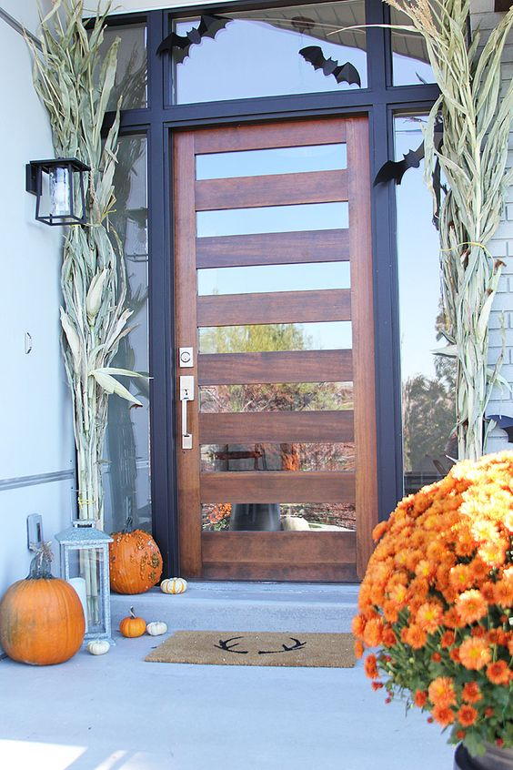 wood and mirror glass front door