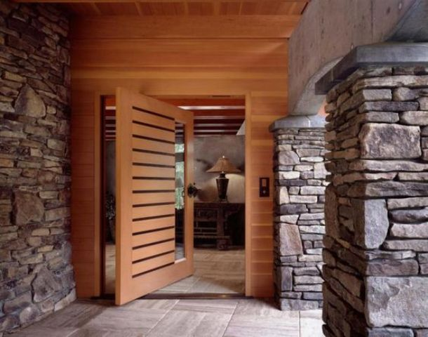 Awesome Wood Planks Large Front Door