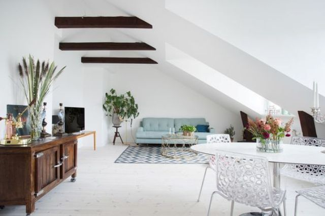 24 spacious attic living and dining room