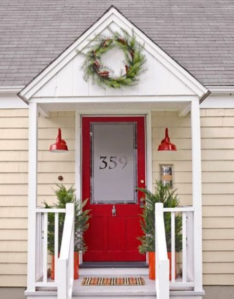 Picture Of Red Door With Etched Glass Adn House Number On It