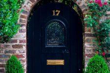 25 wooden navy door with an arch