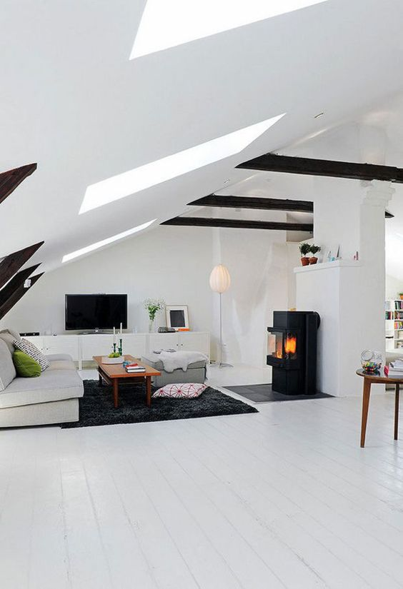 Scandinavian attic living room with a hearth