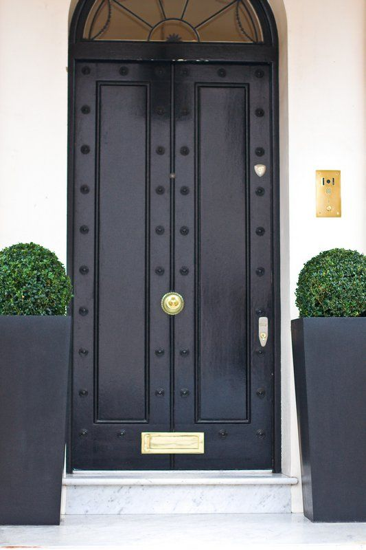 black metal doors with black metal pots and greenery