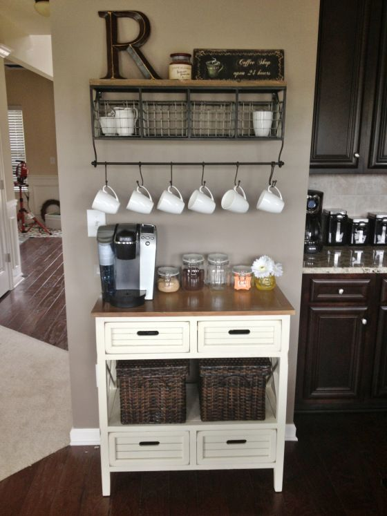 wood and metal shelf with a cup hanger