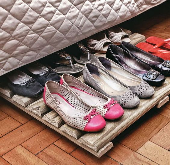 wood rack shoe organizer under the bed