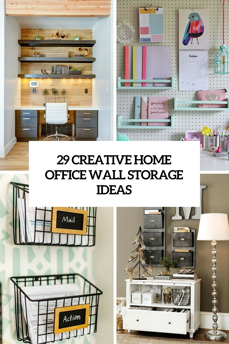 In Wall Storage Ideas 29 Creative Home Office Wall Storage Ideas  Shelterness