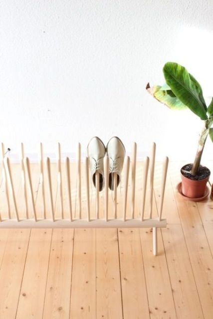 wooden poles shoe rack
