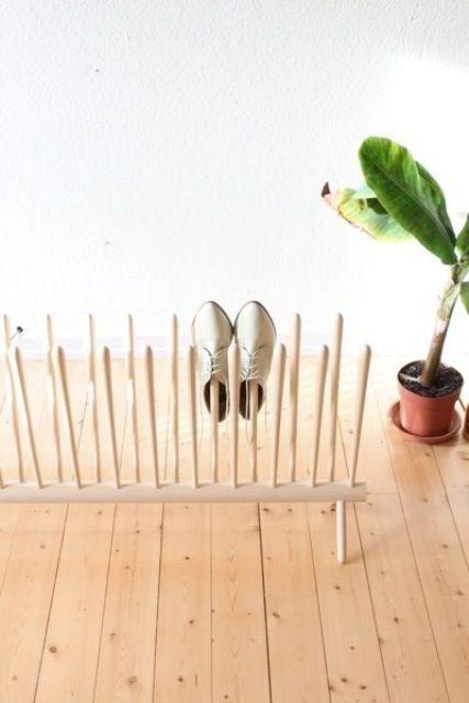 wooden poles shoe rack