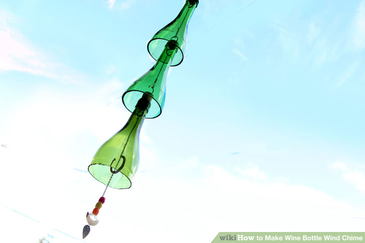 DIY wine bottles wind chimes (via www.wikihow.com)