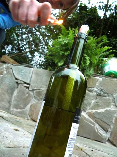 DIY wine bottle tiki torch (via www.apartmenttherapy.com)