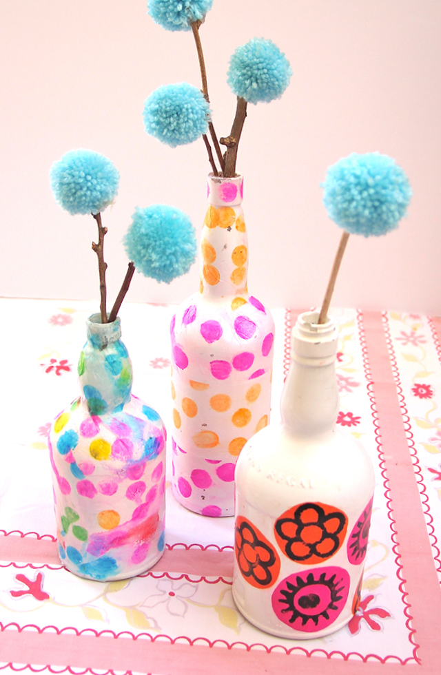 DIY tissue paper decoupage wine bottle vases (via www.creativejewishmom.com)
