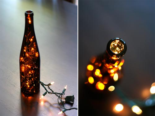 DIY wine bottle LED lantern (via www.shelterness.com)