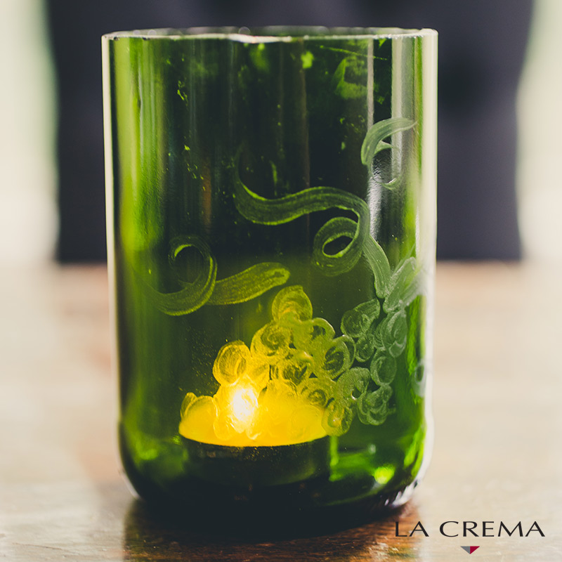 DIY etched wine bottle candle holder (via www.lacrema.com)