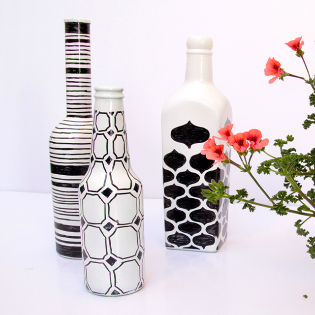 DIY monochrome painted bottle vases