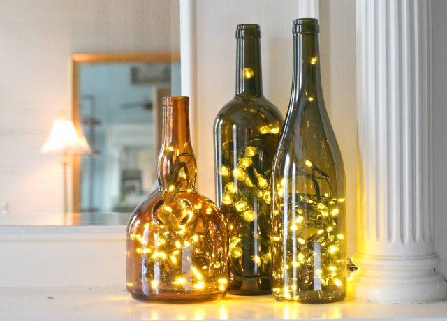 DIY light wine bottles (via www.ehow.com)