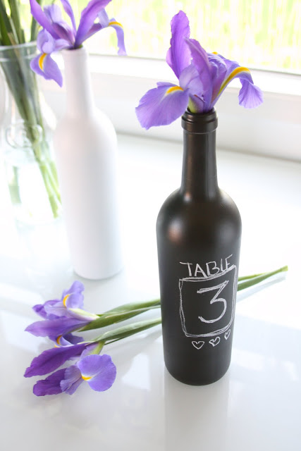 DIY chalkboard wine bottle vases with table numbers