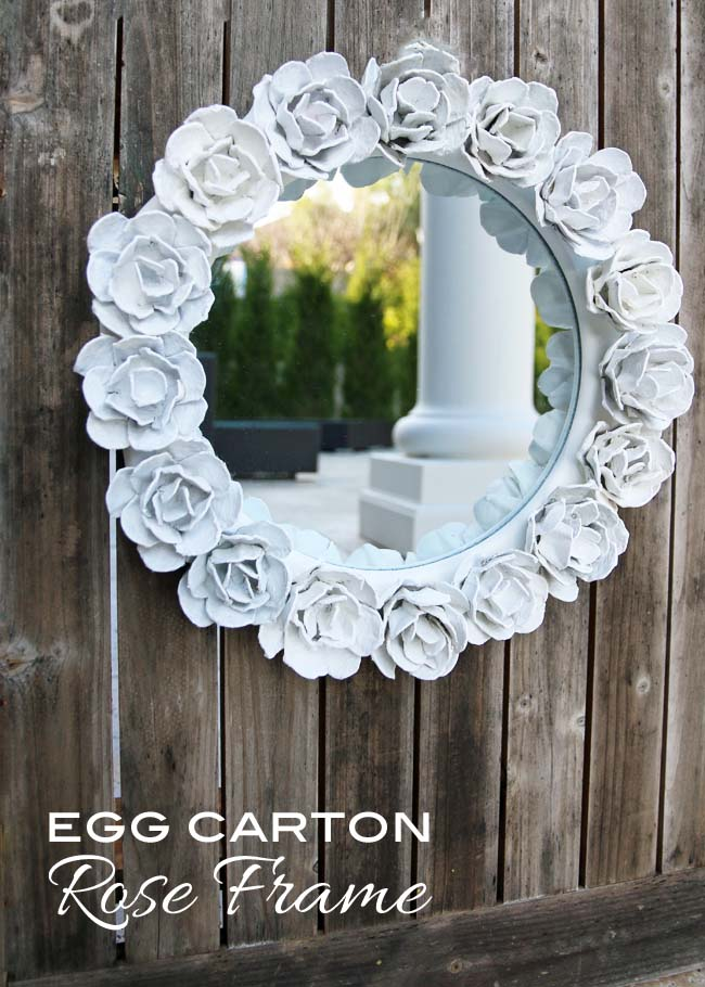 DIY egg carton mirror frame (via www.blissbloomblog.com)
