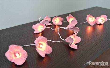 DIY cherry blossom fairy lights from egg cartons (via www.allparenting.com)