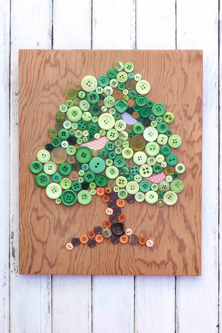 DIY tree wall art of buttons (via makeanddocrew)