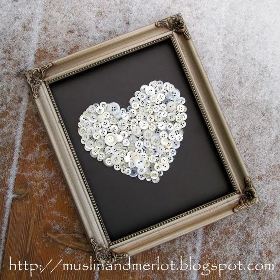 DIY button heart art piece (via muslinandmerlot)