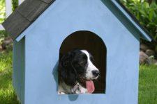 DIY simple blue shingle dog house