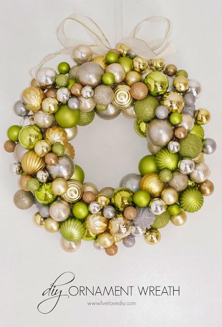 DIY dollar store ornament wreath (via www.livelovediy.com)