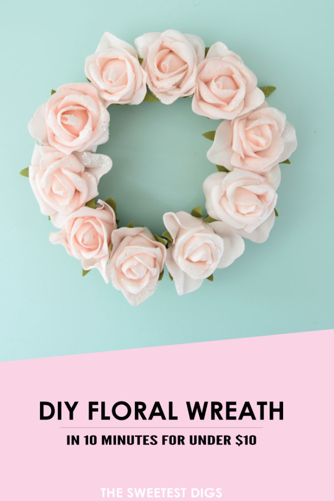 DIY faux floral blush wreath (via thesweetestdigs.com)