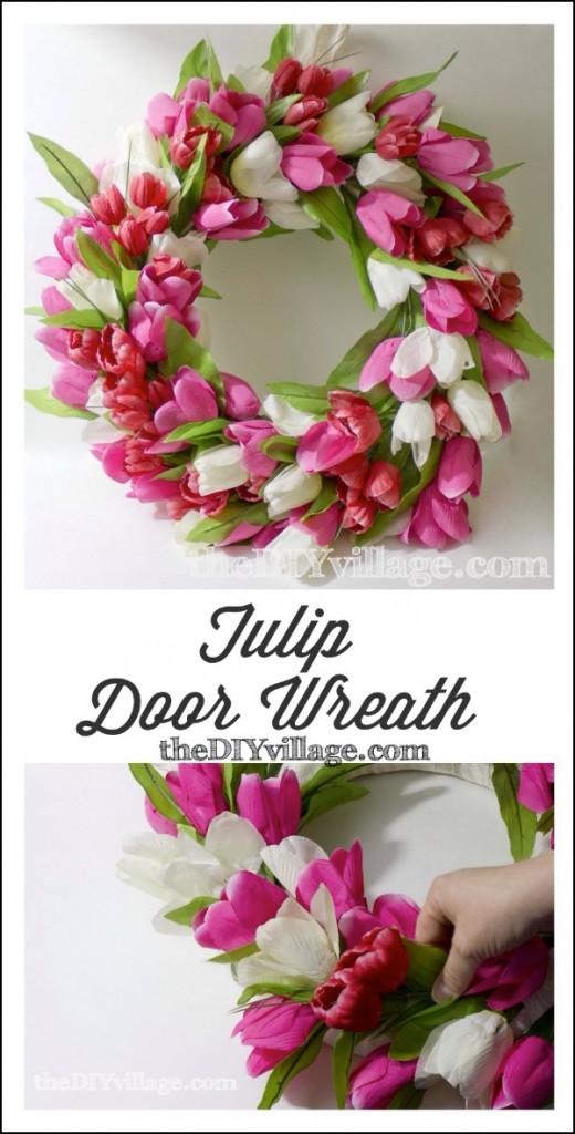 DIY faux tulip door wreath (via www.thediyvillage.com)