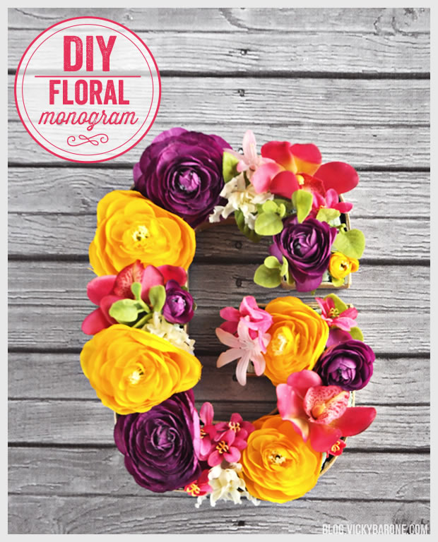 DIY floral monogram (via blog.vickybarone.com)