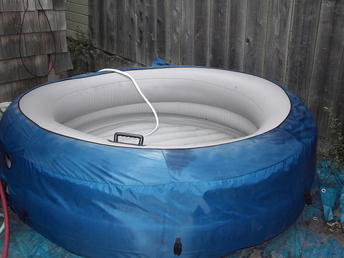 DIY ocean wood fired hot tub