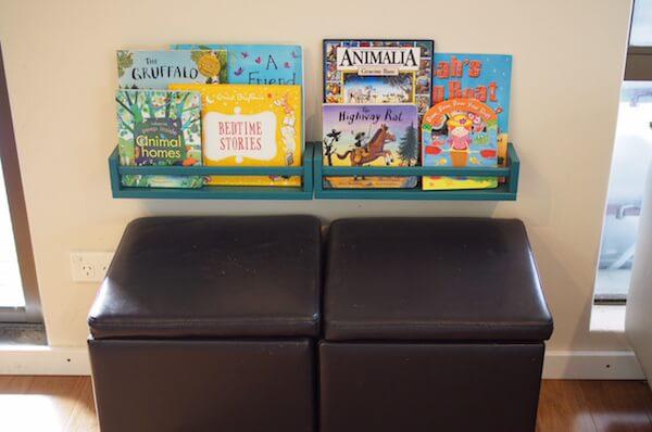 DIY teal bookshelves for the kid's reading nook from IKEA Bekvam (via https:)