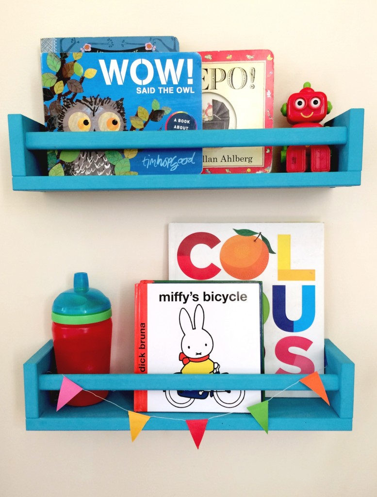 DIY IKEA Bekvam bookshelves for kids' rooms (via www.ababyonboard.com)