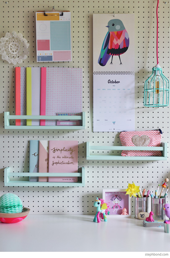 DIY Bekvam racks into pegboard shelves (via blog.stephbond.com)