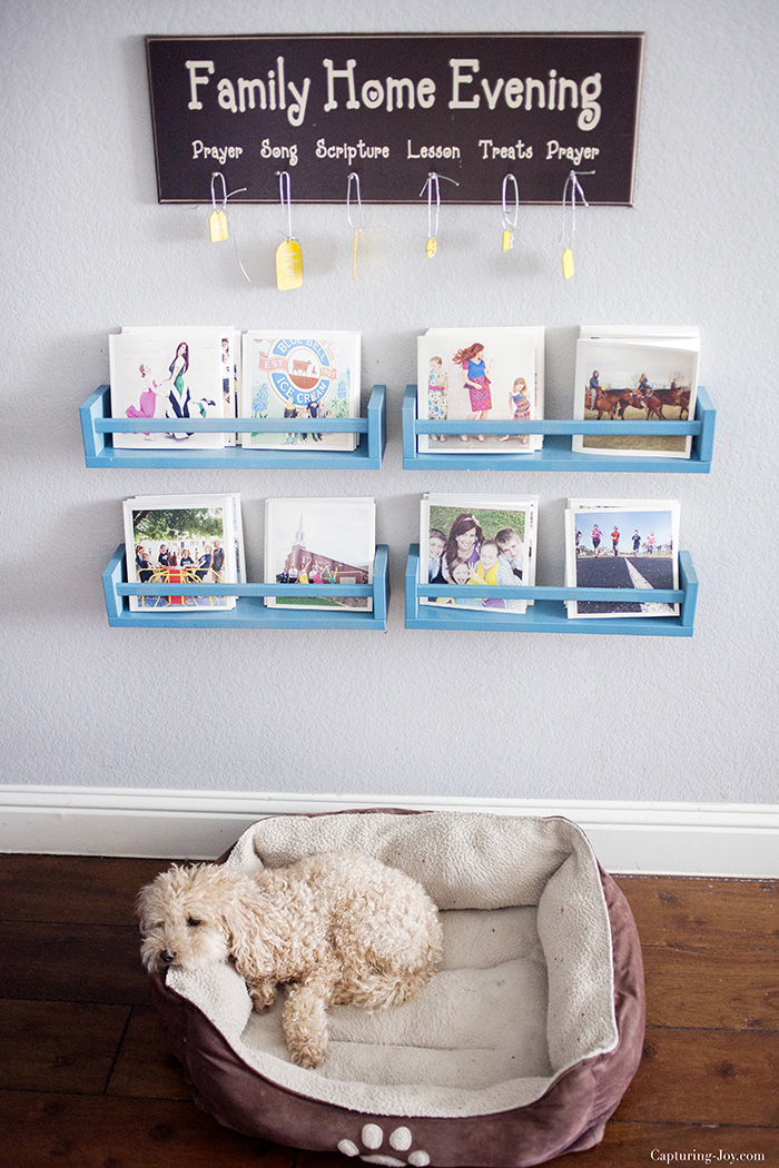 DIY blue bookshelves from IKEA Bekvam racks (via www.kristendukephotography.com)