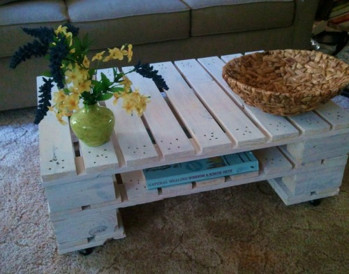 DIY whitewashed pallet coffee table with a storage shelf (via shelterness)