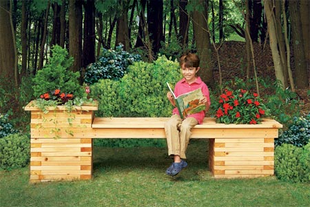 DIY cedar lumber bench with planters (via thisoldhouse)