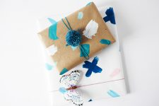 Picture Of DIY watercolor paper towels wrapping paper
