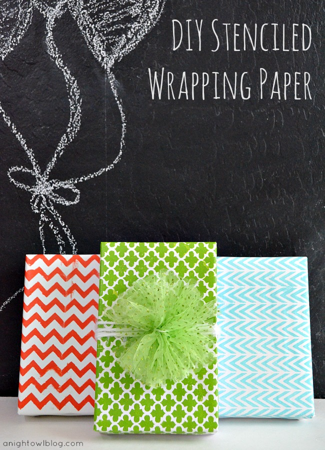 DIY stenciled wrapping paper (via anightowlblog)