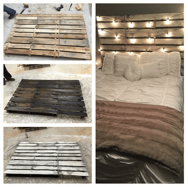 DIY large wood pallet bed frame (via www.craftymorning.com)
