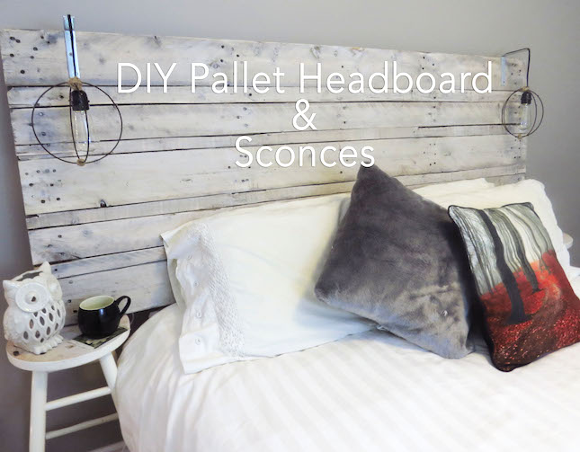 DIY one pallet whitewashed headboard with sconces (via www.thesimplyinspiredblog.com)