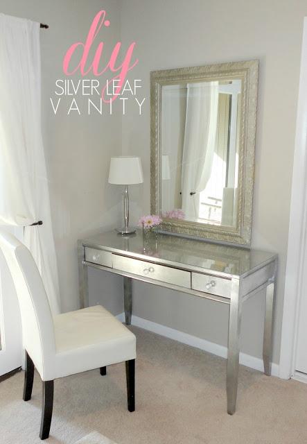 DIY silver leaf vanity  (via livelovediy)