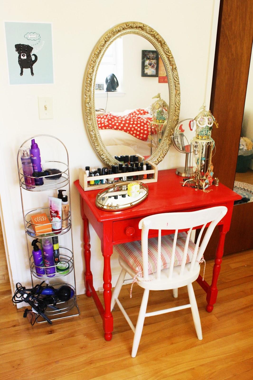 DIY tiny red vanity